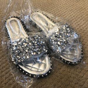 NWT Rhinestone Slippers